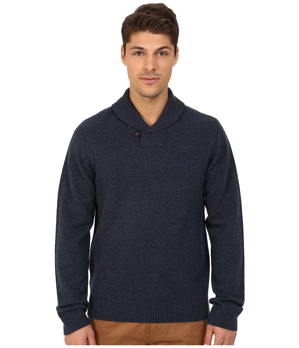 Original Penguin - Long Sleeve Pullover Shawl w/ Back Neck Tipping Details (Dark Sapphire) Men's Sweater