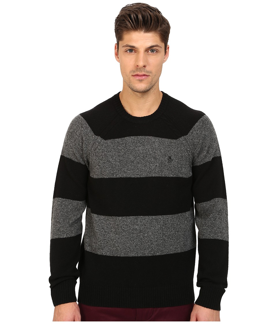 Original Penguin - Long Sleeve Jersey Wide Striped Crew w/ Cable Raglan Jersey (True Black) Men's Sweater