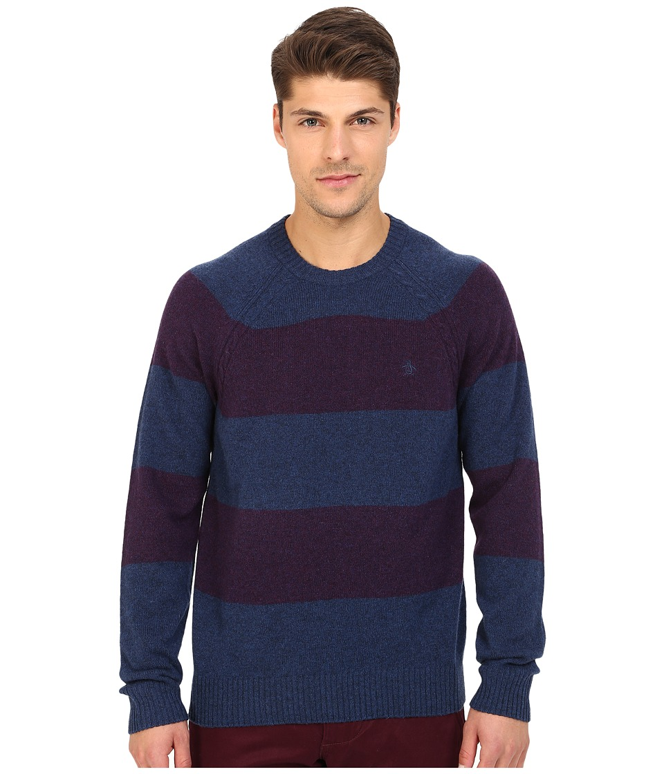 Original Penguin - Long Sleeve Jersey Wide Striped Crew w/ Cable Raglan Jersey (Medieval Blue) Men's Sweater