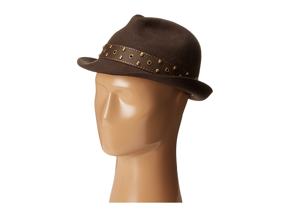 CARLOS by Carlos Santana - Wool Fedora with Teardrop Crown Hat (Brown) Fedora Hats