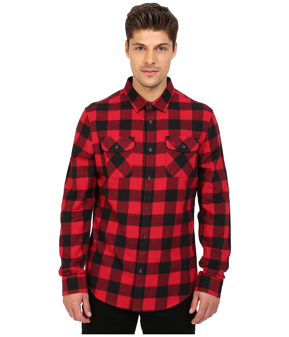 Original Penguin - Long Sleeve Buffalo Check Brushed Cotton Shirt (Haute Red) Men's Long Sleeve Button Up