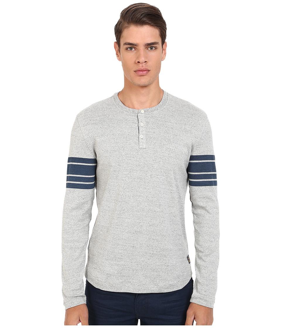 Original Penguin - Long Sleeve Stripe Sleeve Henley (Mirage Gray) Men's Clothing