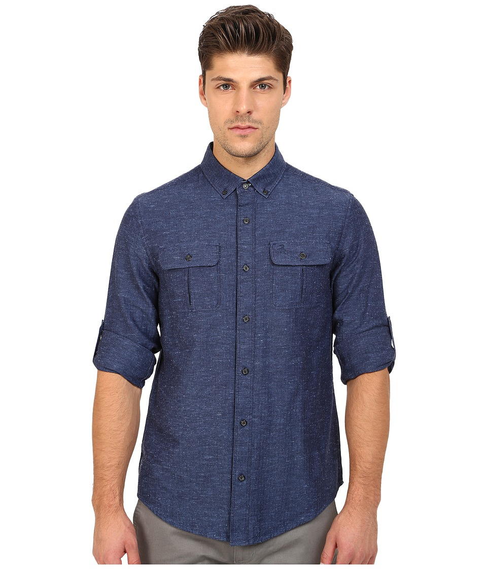 Original Penguin - Long Sleeve Herringbone Roll Cuff Shirt (Medieval Blue) Men's Long Sleeve Button Up