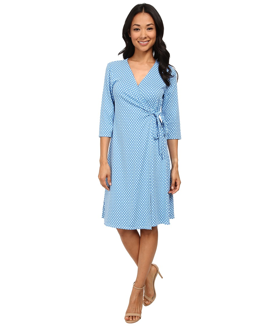 Fresh Produce - Blue Oval Wrap Dress (White) Women's Dress