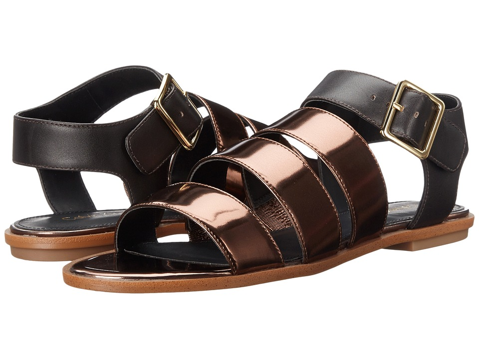 Calvin Klein - Ulie (Espresso Metallic Box Leather) Women's Toe Open Shoes