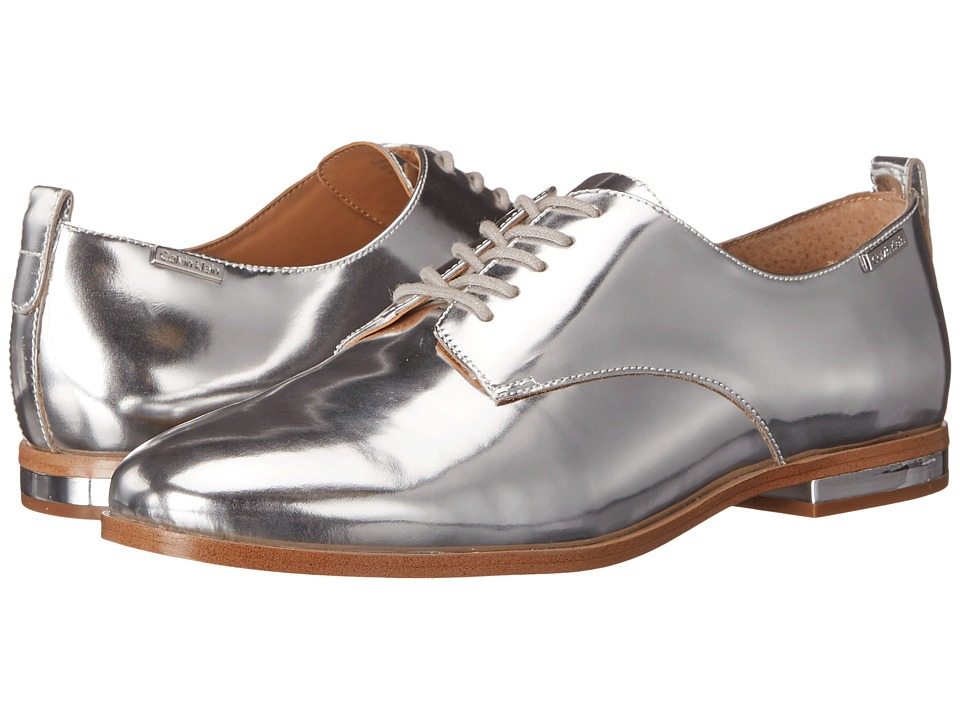 Calvin Klein - Camella (Silver Metallic Box Leather) Women's Shoes