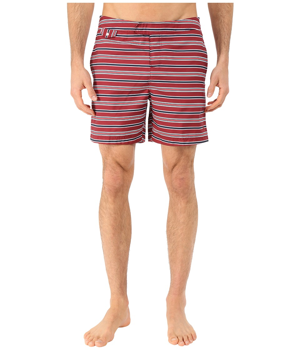 Original Penguin - Stripe Print Fixed Volley (Haute Red) Men's Swimwear