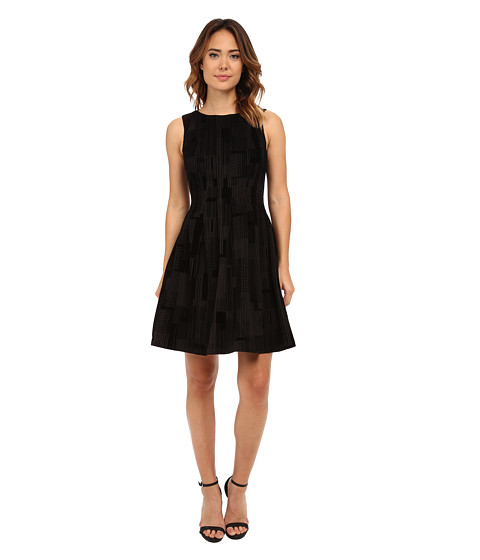 Calvin Klein - Flocked Flare Dress (Black/Black Combo) Women
