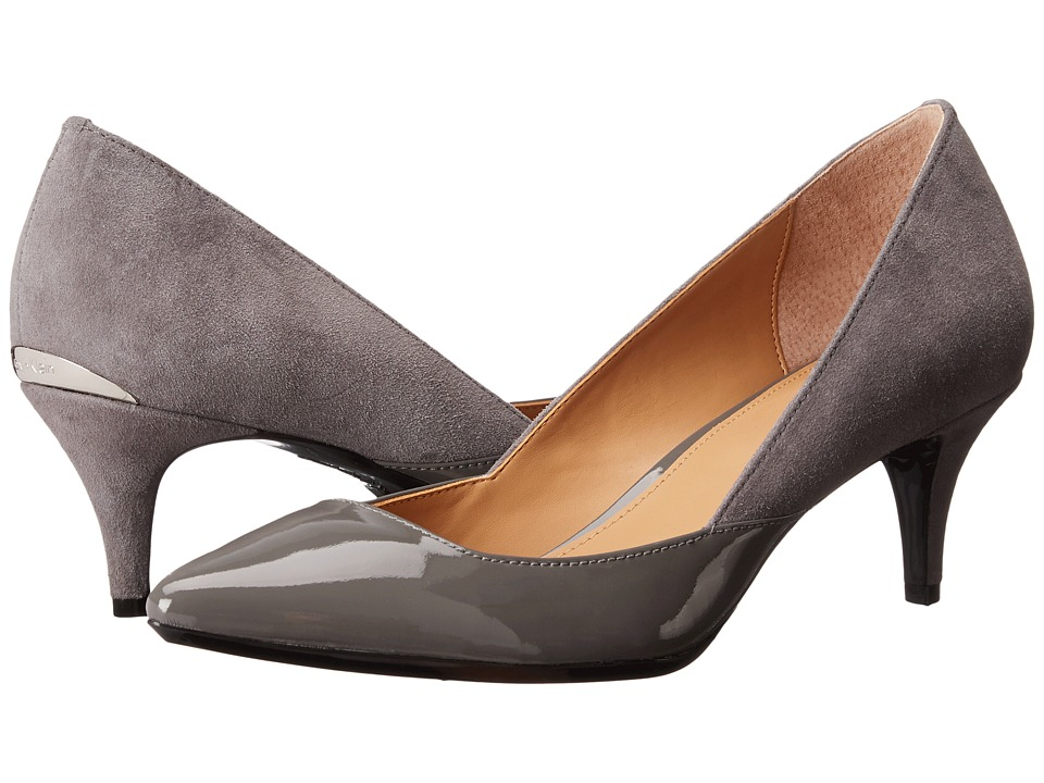 Calvin Klein - Patna (Shadow Grey Patent/Suede) Women's 1-2 inch heel Shoes