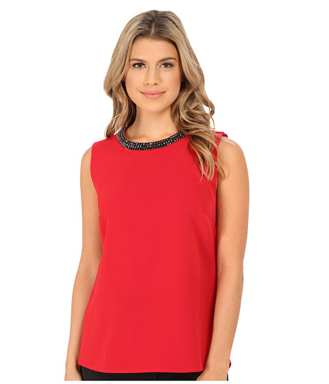Calvin Klein - Shell with Beading at Neck (Rouge) Women