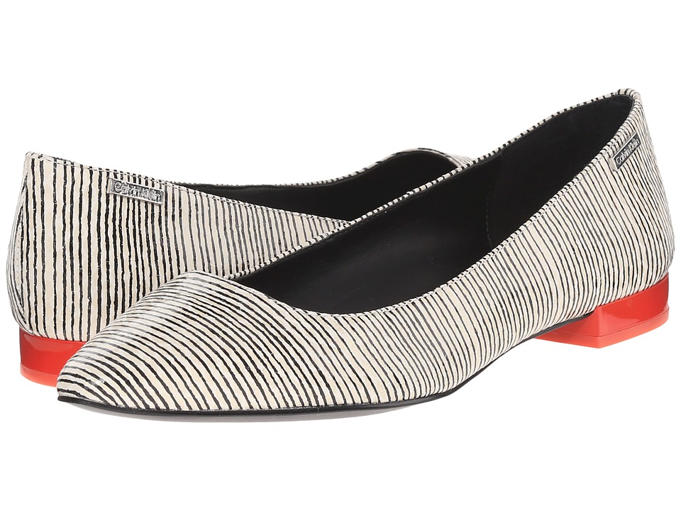 Calvin Klein - Ellasandra (Black/White Leather) Women's Dress Flat Shoes