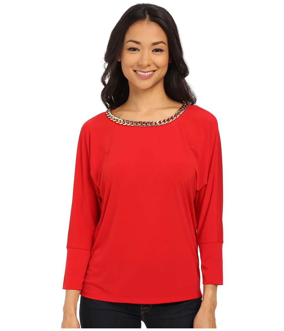 Calvin Klein - Dolman with Braid Chain (Rouge) Women's Clothing