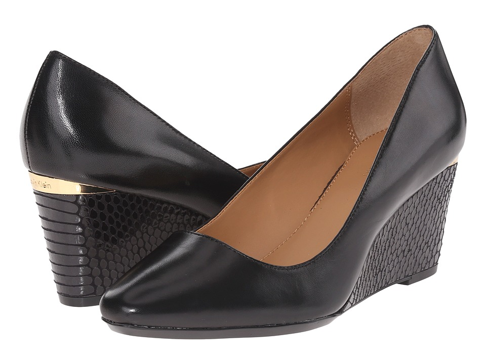 Calvin Klein - Pippa (Black Leather) Women's Wedge Shoes