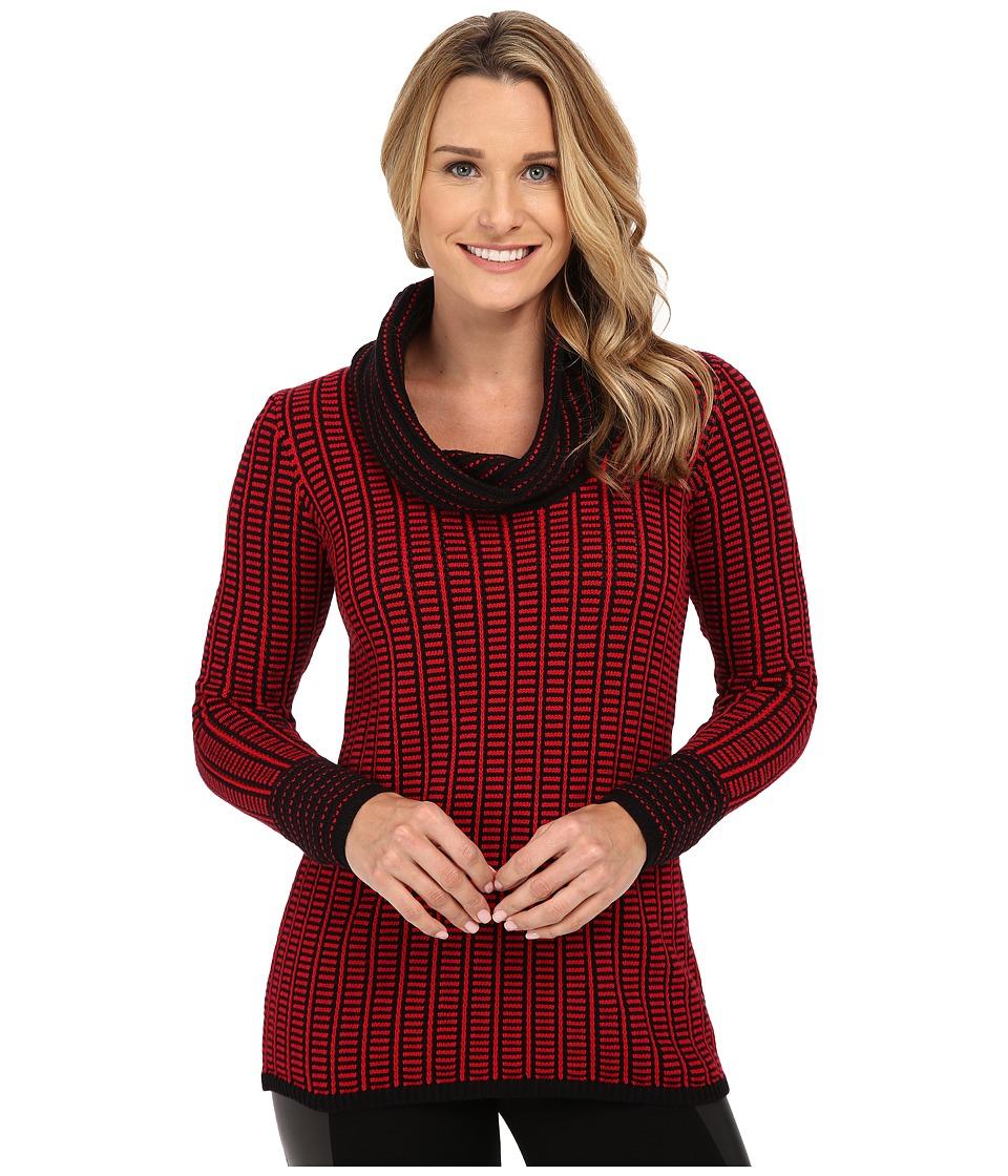 Calvin Klein - Cowl Neck with Grid Stripe (Rouge) Women's Sweater
