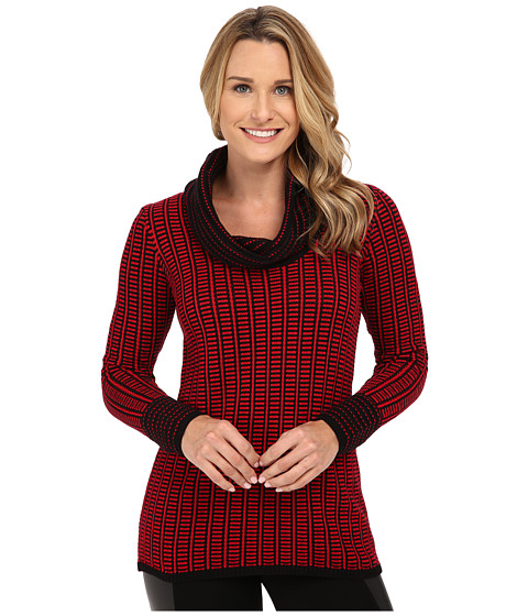Calvin Klein - Cowl Neck with Grid Stripe (Rouge) Women's Sweater