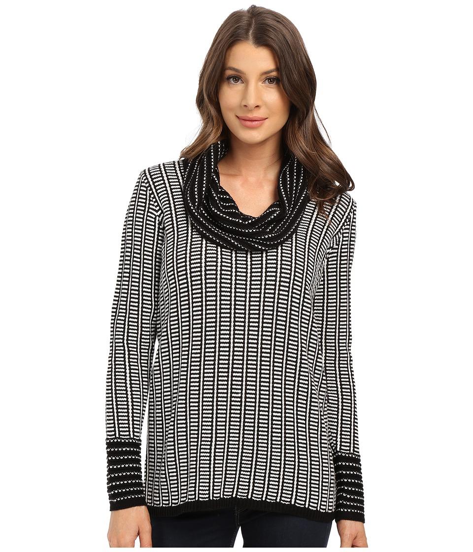 Calvin Klein - Cowl Neck with Grid Stripe (Black) Women