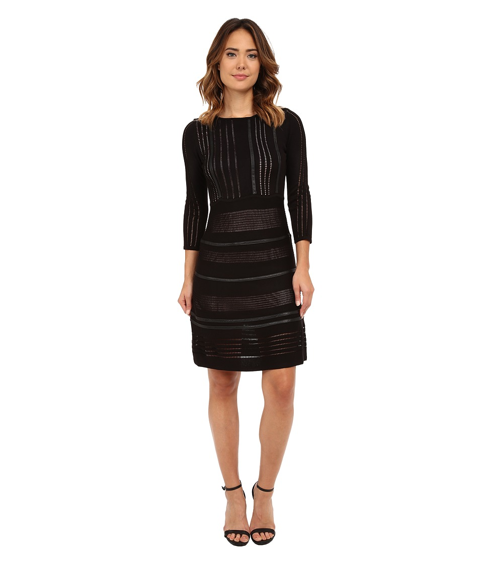 Calvin Klein - Sweater Dress Faux Leather Piping (Black) Women's Dress