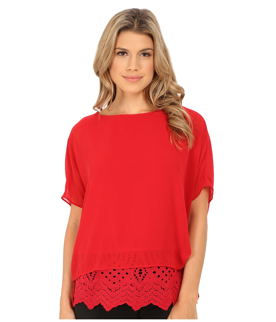 Calvin Klein - Chiffon Dolman with Lace (Rouge) Women's Blouse