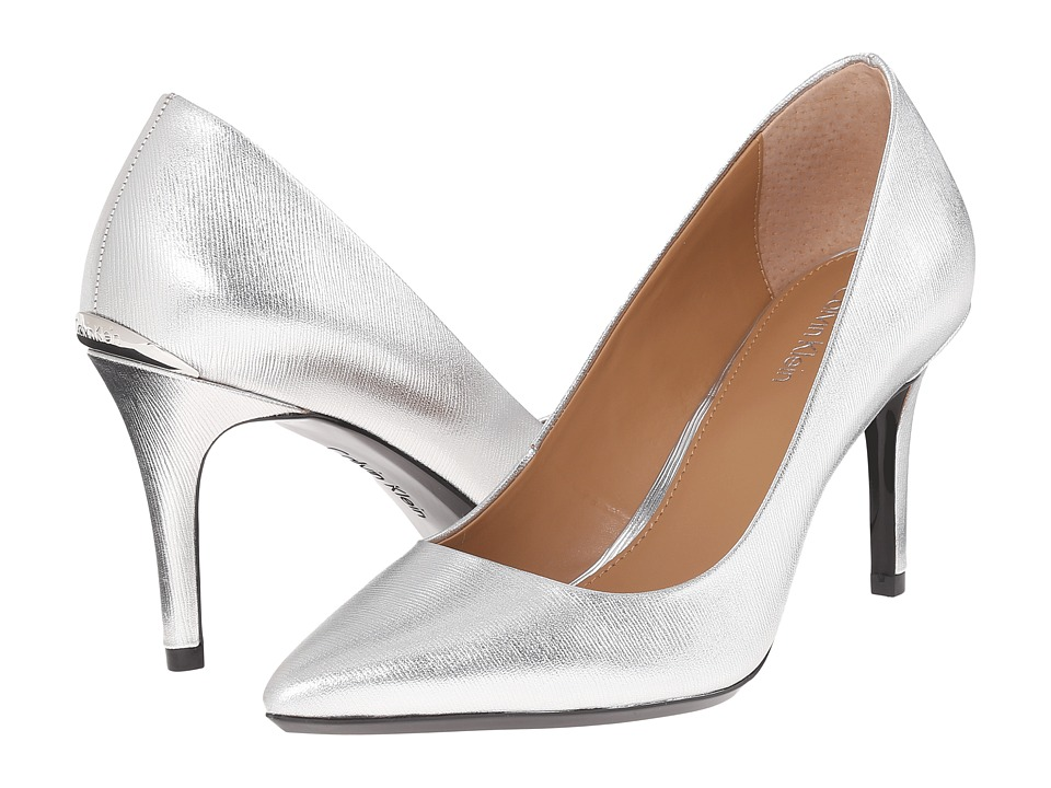 Calvin Klein - Gayle (Silver Metallic Grain Leather) High Heels