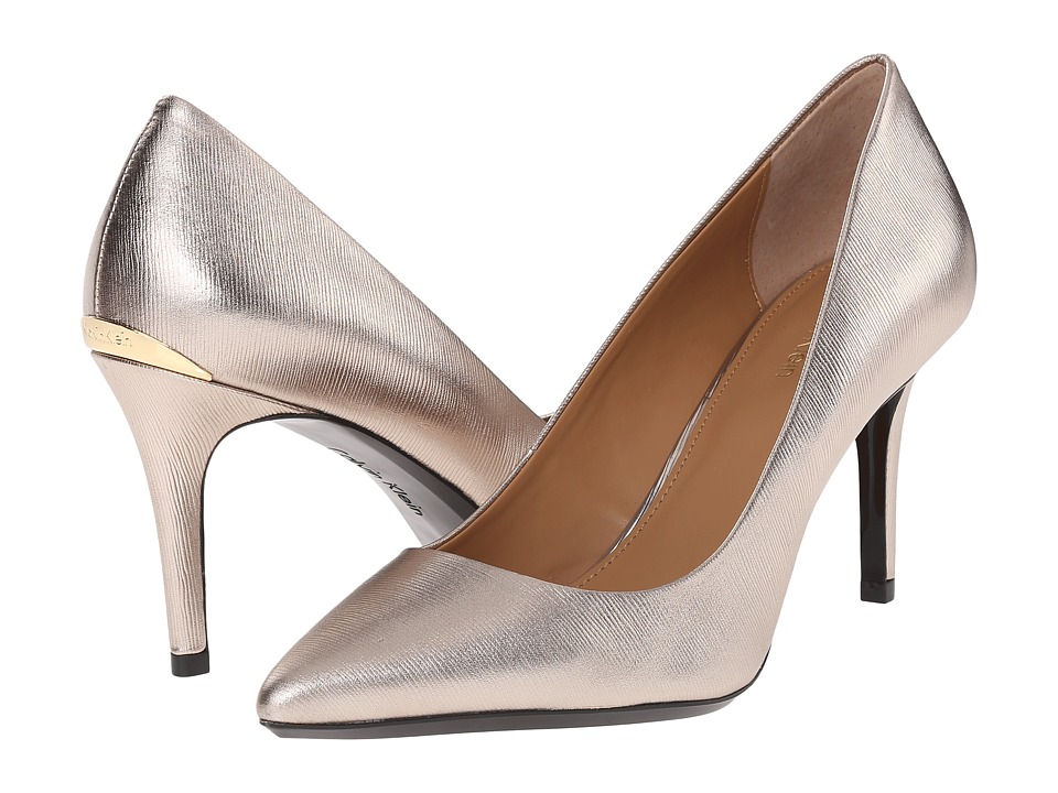 Calvin Klein - Gayle (Soft Platinum Metallic Grain Leather) High Heels