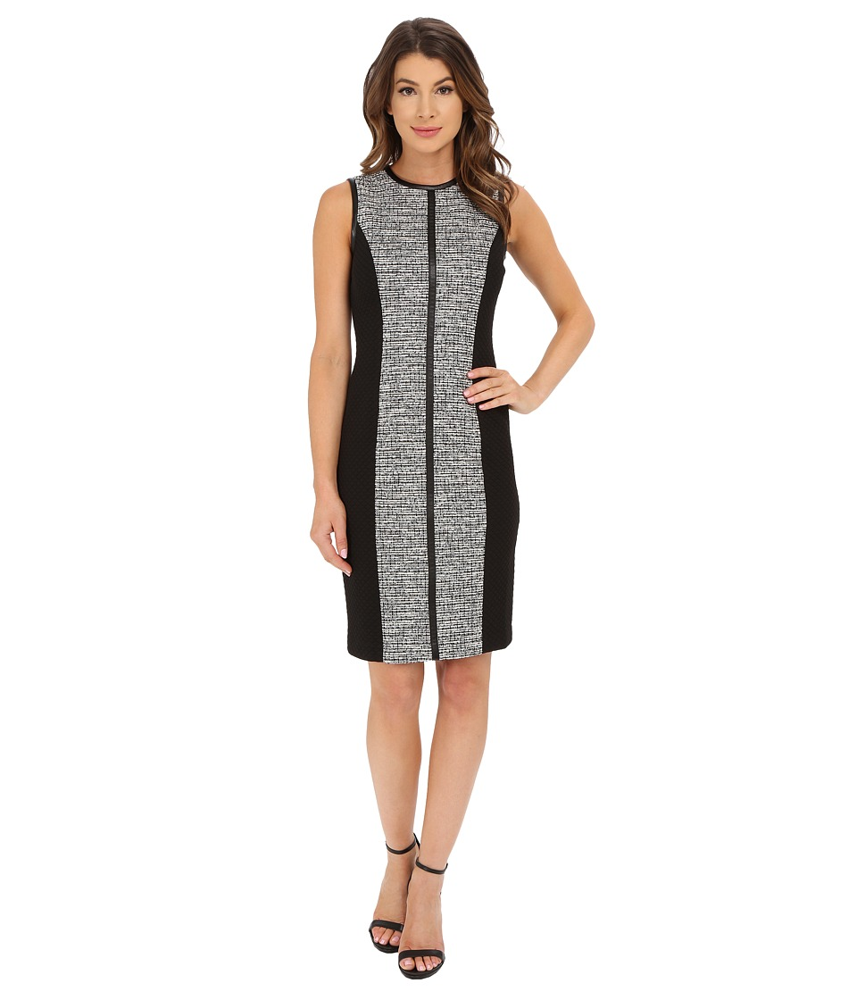 Calvin Klein - Tweed Sheath Dress (Black/White Tweed) Women's Dress