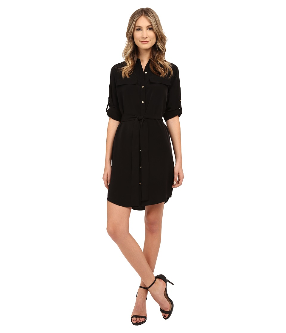 Calvin Klein - Roll Sleeve Button Front Dress (Black) Women's Dress