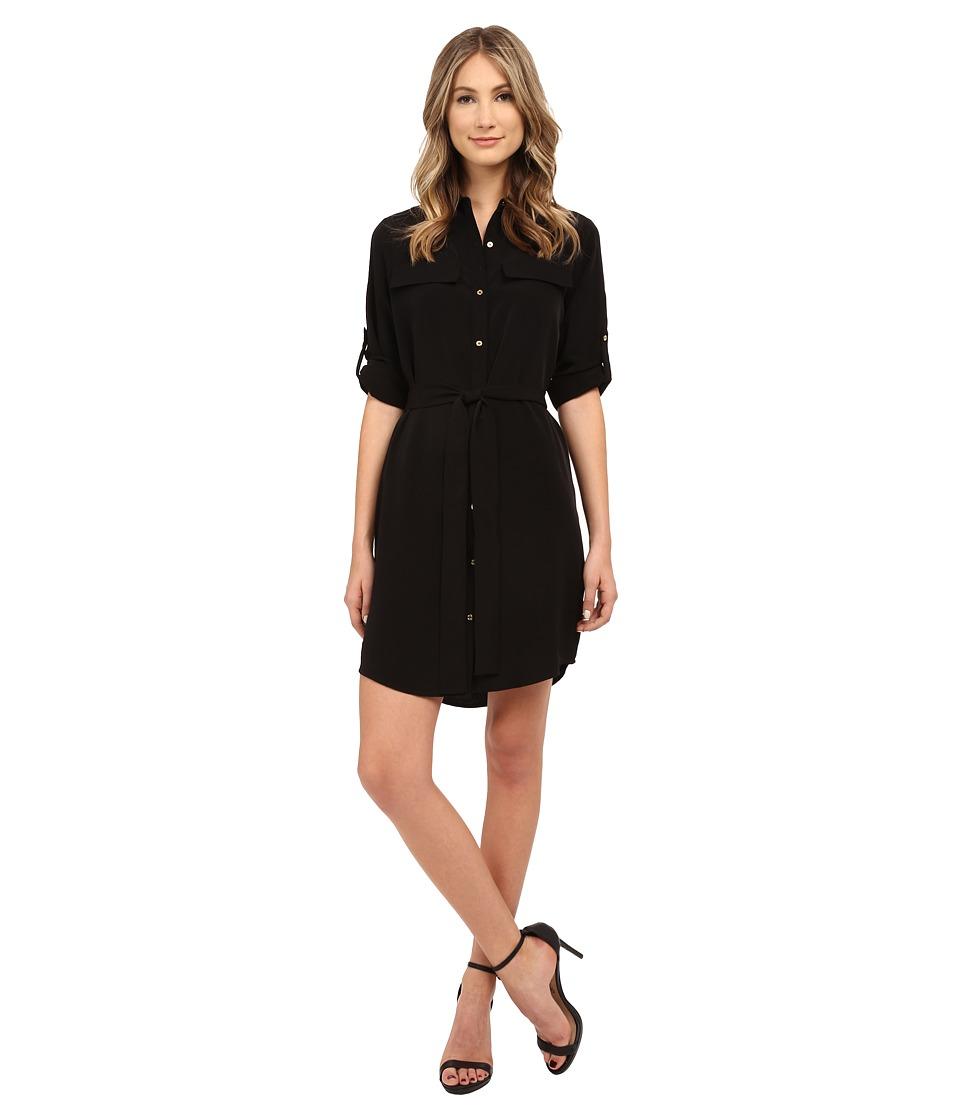 Calvin Klein - Roll Sleeve Button Front Dress (Black) Women's Dress