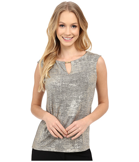 Calvin Klein - Sleeveless Metallic Foil Top (Gold) Women's Short Sleeve Knit