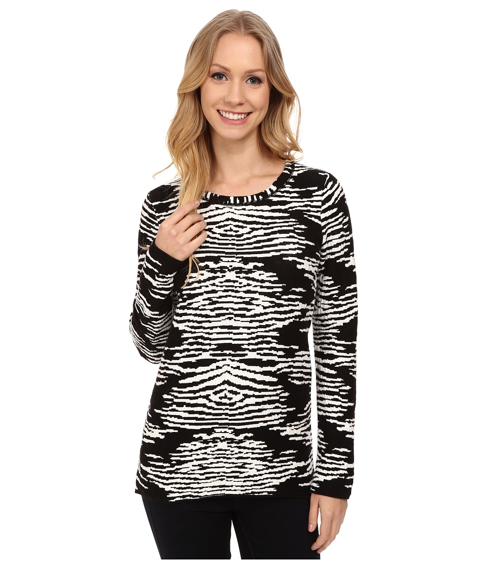 Calvin Klein - Long Sleeve Animal Print Sweater (Black) Women's Sweater
