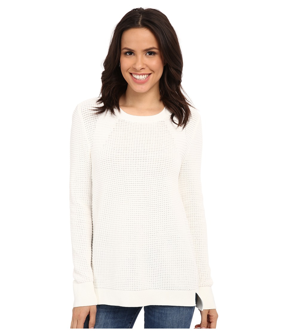 Calvin Klein - Waffle Stitch Crew Neck (Soft White) Women's Sweater