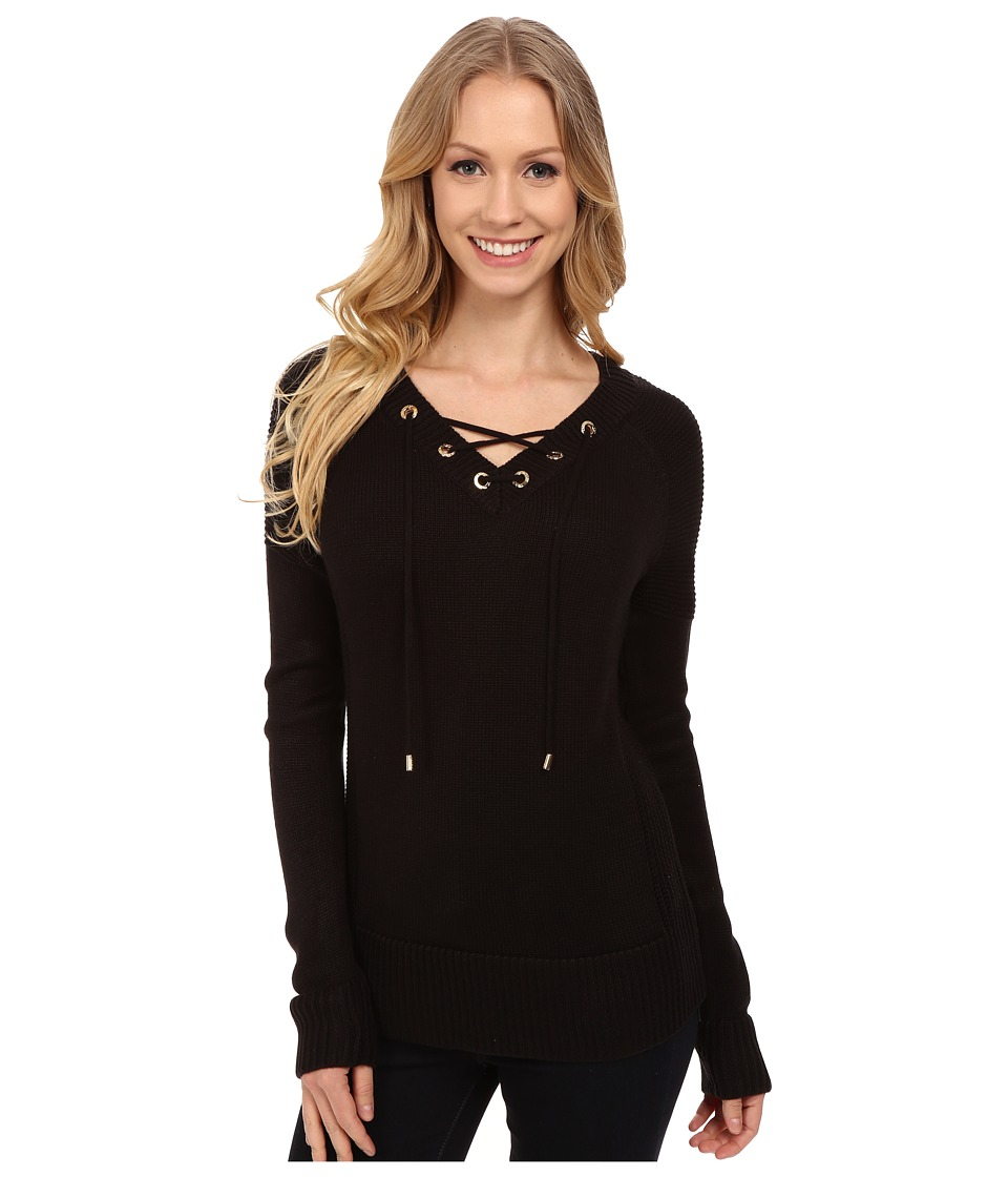 Calvin Klein - Lace Up V-Neck Sweater (Black) Women
