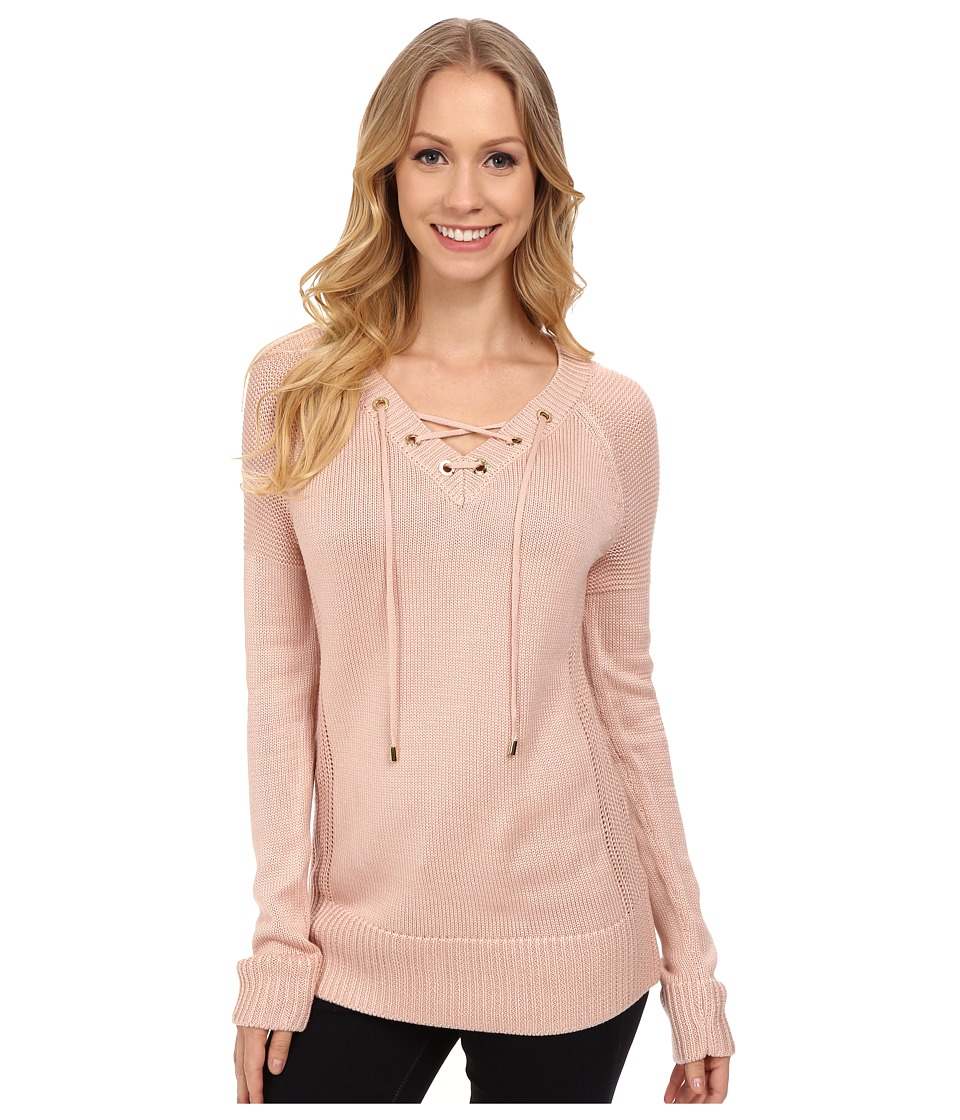 Calvin Klein - Lace Up V-Neck Sweater (Blush) Women