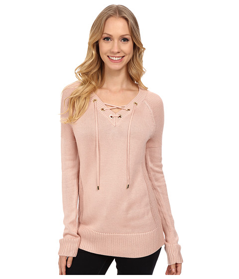Calvin Klein - Lace Up V-Neck Sweater (Blush) Women