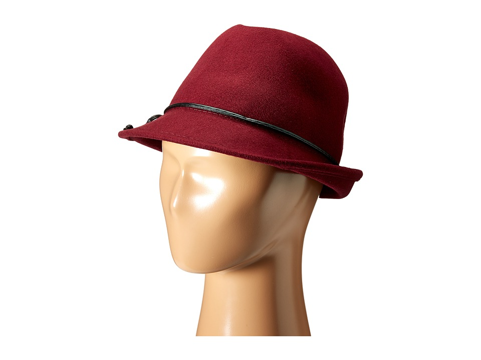 SCALA - Wool Felt Fedora with Faux Leather Trim and Bow (Burgundy) Fedora Hats