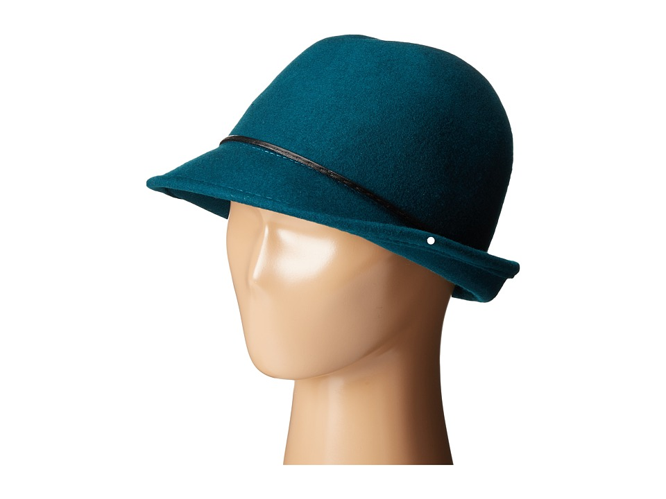SCALA - Wool Felt Fedora with Faux Leather Trim and Bow (Teal) Fedora Hats