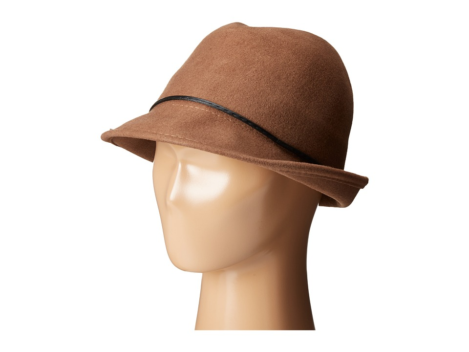 SCALA - Wool Felt Fedora with Faux Leather Trim and Bow (Pecan) Fedora Hats