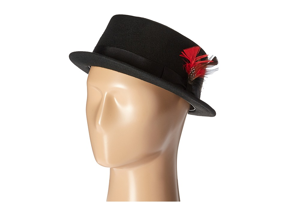 SCALA - Narrow Brim Pork Pie Hat with Ribbon Trim (Black) Caps