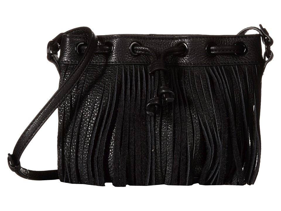 Rebecca Minkoff - Fringe Micro Lexi Bucket (Black) Handbags