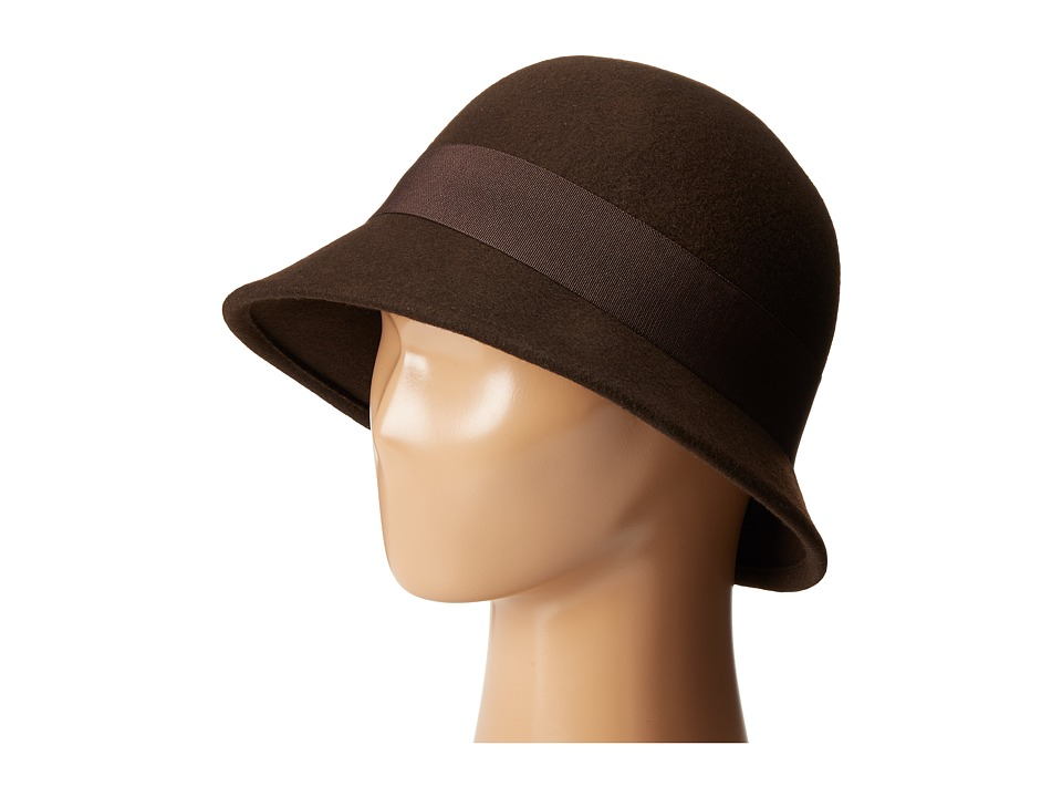 SCALA - Wool Felt Cloche with Grograin Band and Bow (Brown) Caps