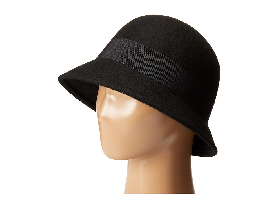 SCALA - Wool Felt Cloche with Grograin Band and Bow (Black) Caps