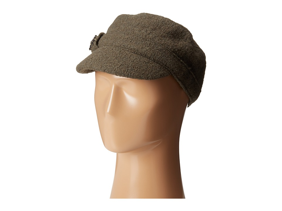 SCALA - Wool Cadet Cap with Broche Trim (Olive) Caps