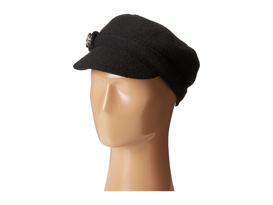 SCALA - Wool Cadet Cap with Broche Trim (Black) Caps