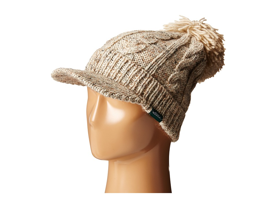 Woolrich - Wool Blend Chunky Cable Knit Slouch Radar with Matching Pom (Natural) Knit Hats