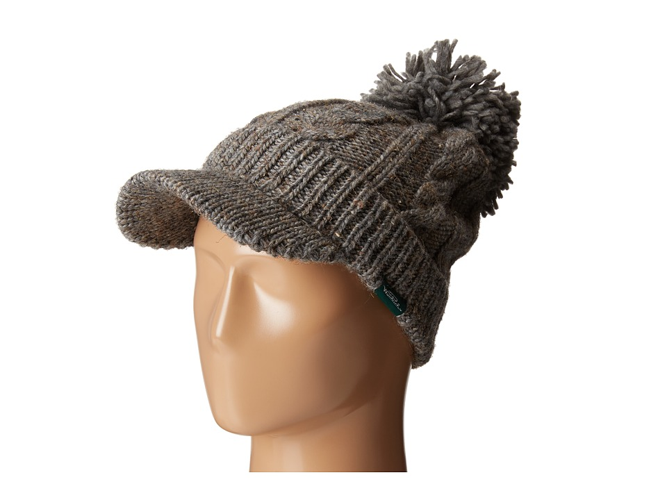 Woolrich - Wool Blend Chunky Cable Knit Slouch Radar with Matching Pom (Grey) Knit Hats
