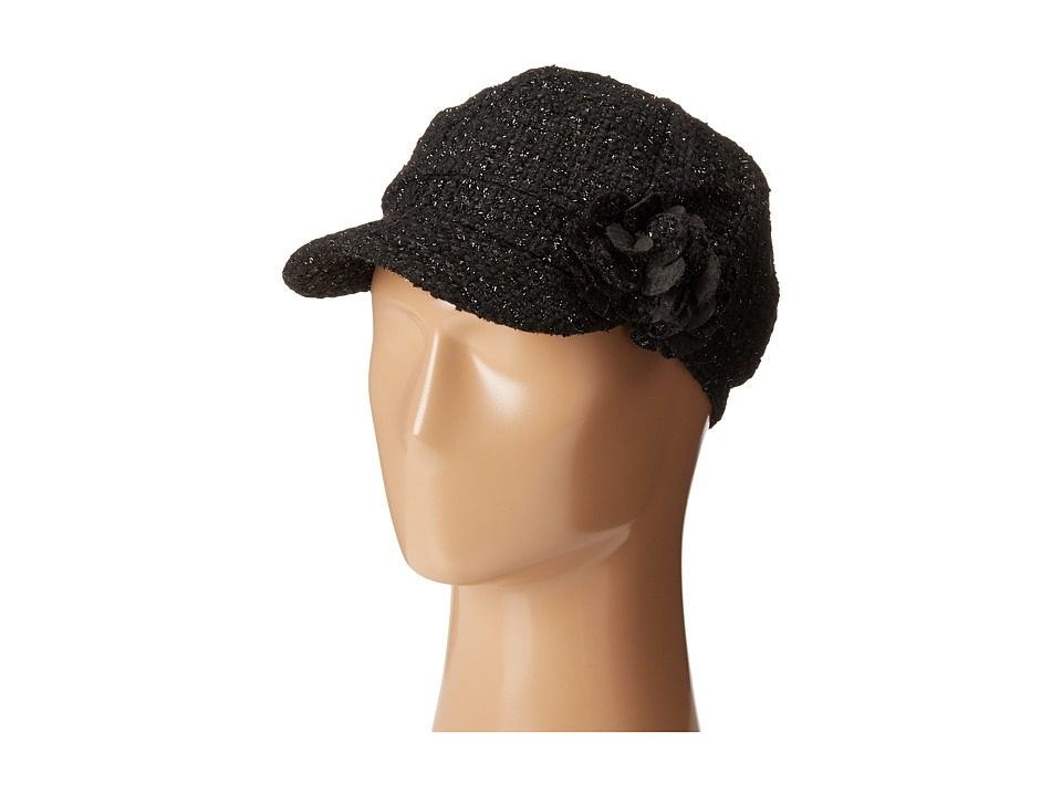SCALA - Tweed Cap with Lurex and Flower Trim (Black) Caps