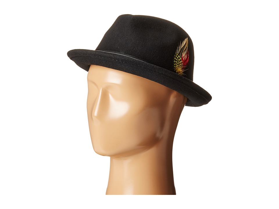 SCALA - Stingy Brim Fedora w/ Contrast Stitching Grosgrain Band (Black) Fedora Hats