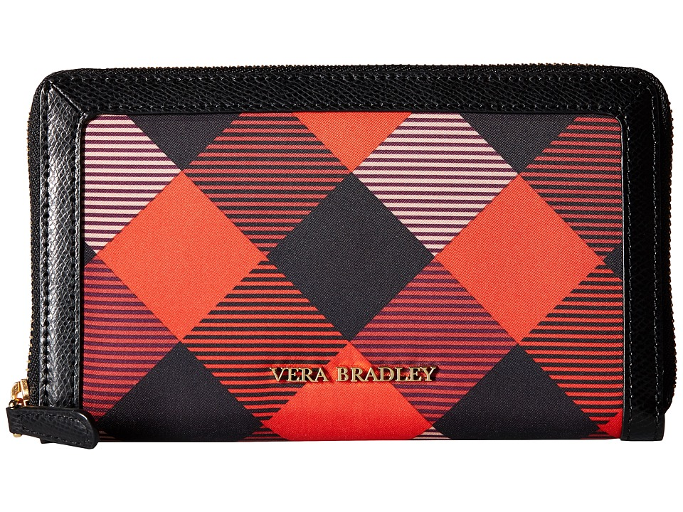 Vera Bradley - Accordion Wallet (Buffalo Check Burnt Orange/Black) Wallet Handbags