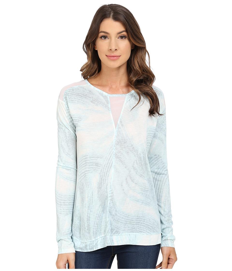 Calvin Klein Jeans - Long Sleeve Printed Voyeur Top (Light Jade) Women's Long Sleeve Pullover