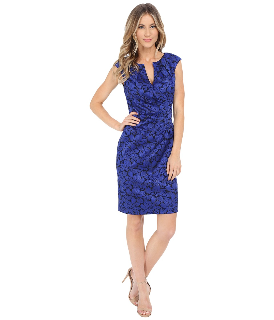 Adrianna Papell - Floral Jacquard Wrap Sheath (Iris) Women's Dress
