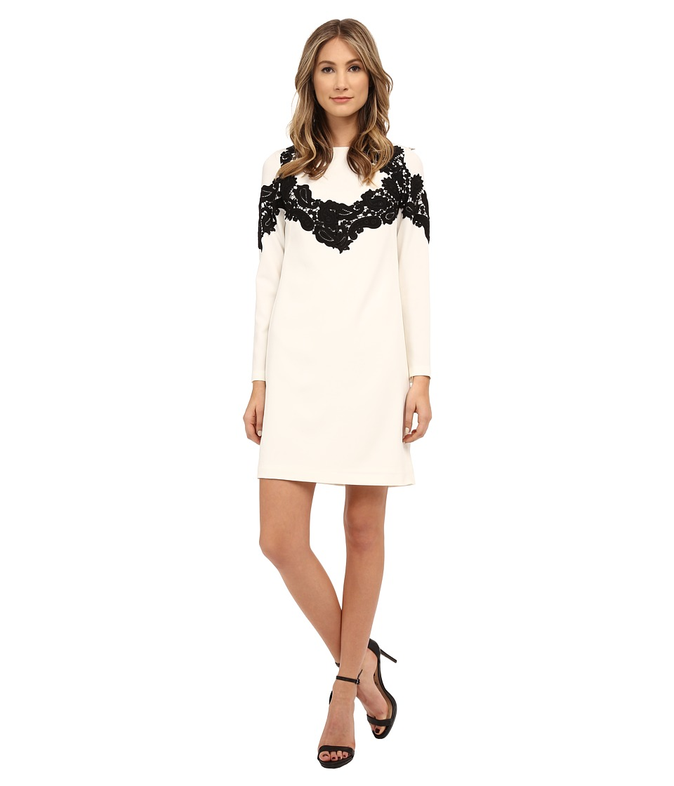 Adrianna Papell - Crepe Shift Dress with Lace Applique Trim (Ivory/Black) Women